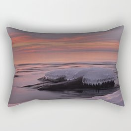 Icy Watercolor Sunrise Rectangular Pillow