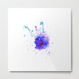 Violet Watercolor Flower Metal Print