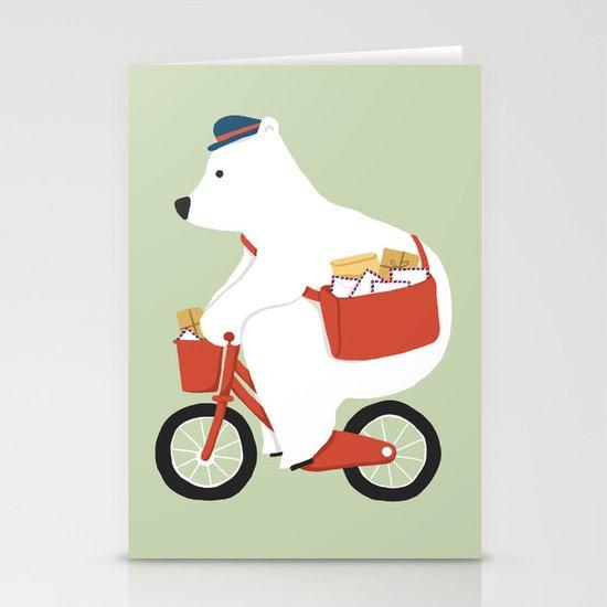 Polar bear postal express Stationery Cards