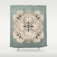 edm Shower Curtains featuring Ancient Calaabachti Filigrane by Obvious Warrior