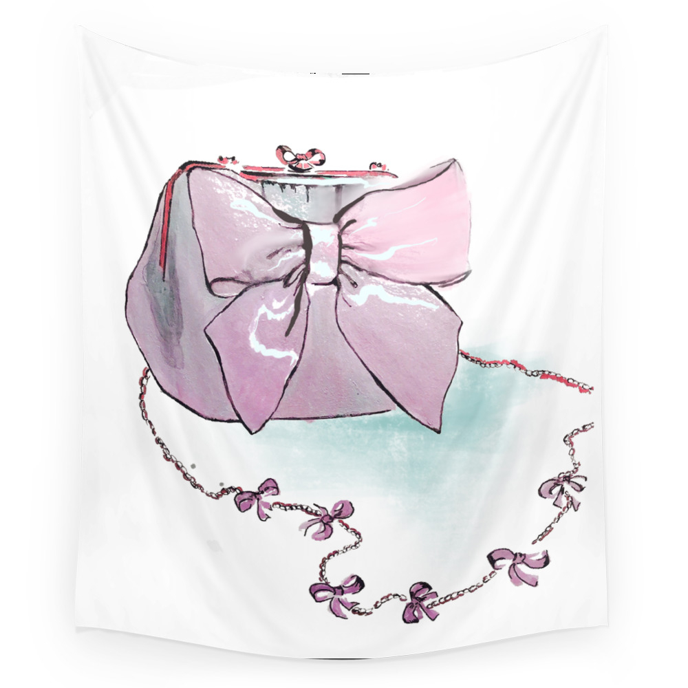 Pink Purse Wall Tapestry by gracefulbrush (TPS8974954) photo