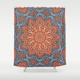 Blue - orange kaleidoscope Shower Curtain
