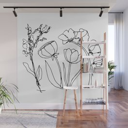 Floral Scribble Wall Mural