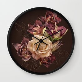 Chocolate flowers. Rose and lily on dark background. Wall Clock