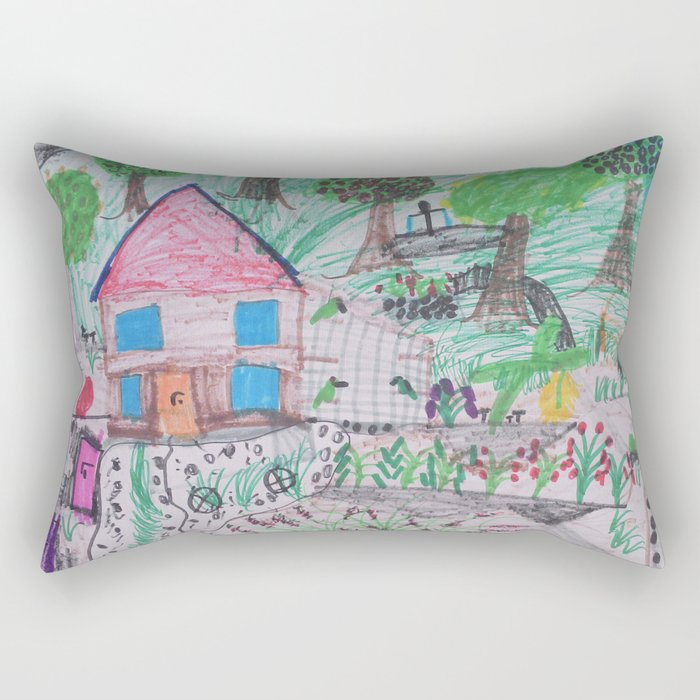 Place of Love, loving the nature - Handmade from Pascal   (A7 B0238) Rectangular Pillow