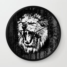 Black and White  Roaring Lion Digital Art Wall Clock