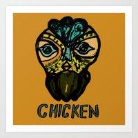 chicken mask Art Print