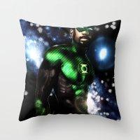 john green Throw Pillows featuring John Stewart : The Green Lantern by André Joseph Martin