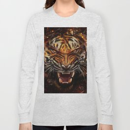 Angry Tiger Breaking Glass Yelow Long Sleeve T-shirt