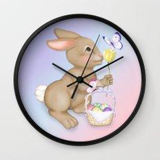 Brown Bunny and Basket Wall Clock