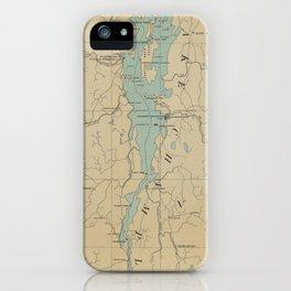 Vintage Lake Champlain Lighthouse Map (1896) iPhone Case