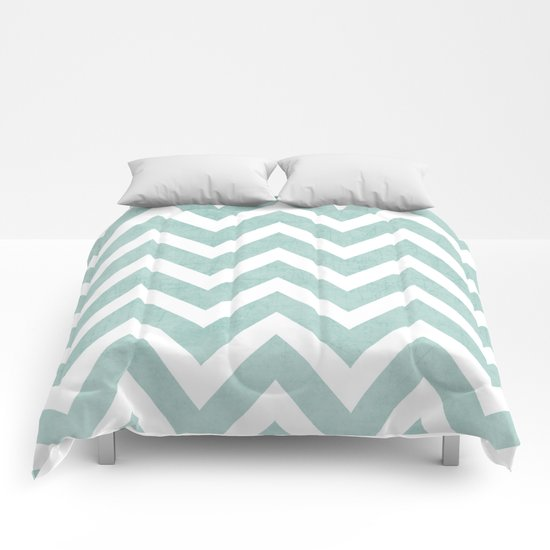 robins egg blue chevron Comforters