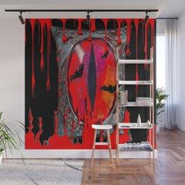 Red  Hells Gate Portal Blood & Bats Wall Mural