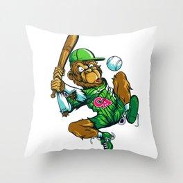Baseball Monkey - Lime Throw Pillow