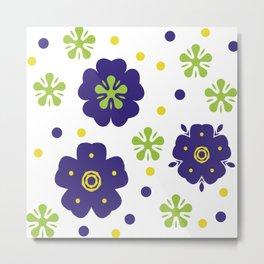 Colorful Japanese geometric flowers Metal Print