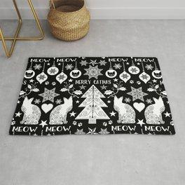 Black And White Merry Catmas Hygge Folk Art X-Mas Pattern Rug