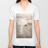 seahorse V-neck T-shirts featuring Seahorse by Laake-Photos