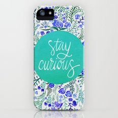 Stay Curious – Navy & Turquoise iPhone (5, 5s) Slim Case