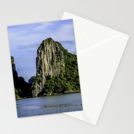 Beautiful Limestone Cliffs Covered in Green Trees and Bushes Rising up from Halong Bay, Vietnam Stationery Cards