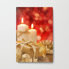 Christmas scene with gold baubles, gift and candles, red background Metal Print