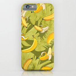 Banana & Leaves Pattern iPhone Case