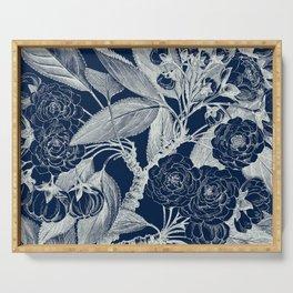 Floral, Roses, Vintage Print, Navy Blue Serving Tray