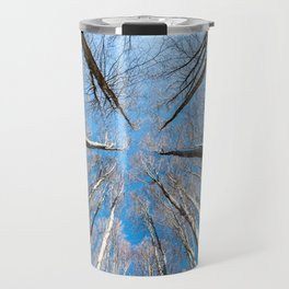 Upward perspective view of tall trees on a blue sky background Travel Mug