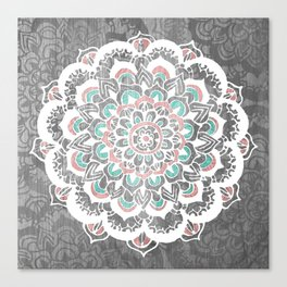 Pastel Floral Medallion on Faded Silver Wood Canvas Print