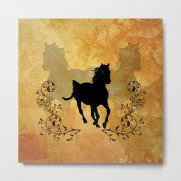 Wonderful black horse silhouette Metal Print