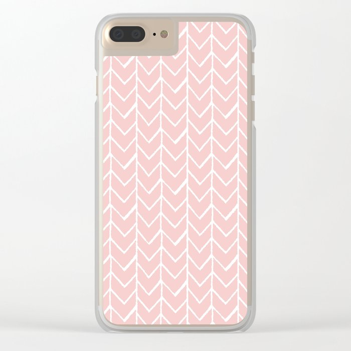 Herringbone Pink Clear iPhone Case