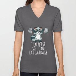 Raccoon Trash Panda I Exercise So I Can Eat Garbage Unisex V-Neck