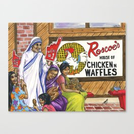 Mother Teresa, Roscoe's Chicken N Waffles, We're #1 Foam Finger Canvas Print
