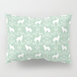 Bernese Mountain Dog florals dog pattern minimal cute gifts for dog lover silhouette mint and white Pillow Sham