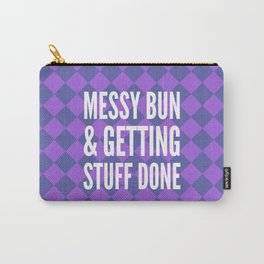 Messy Bun & Getting Stuff Done (Purple Checkered Pattern) Carry-All Pouch