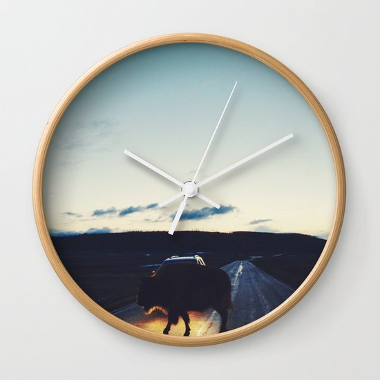 Bison in the Headlights Wall Clock