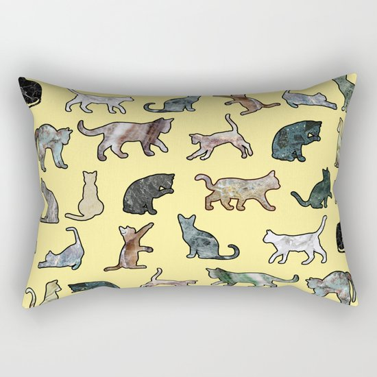 Cats shaped Marble - Sun Yellow Rectangular Pillow