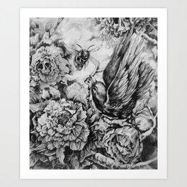 Bird and Bee Art Print