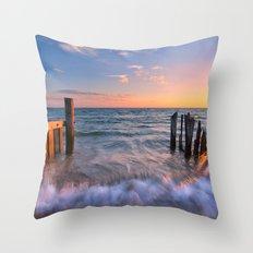Rushing Waves at Sunset Throw Pillow