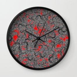 Centipede party red Wall Clock