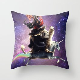 Cat Riding Chicken Turtle Panda Llama Unicorn Throw Pillow