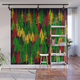 autumn fir forest Wall Mural
