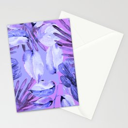 TROPICAL FERNS AND FLOWERS IN SHADES OF mid blue, purples and navy blue Stationery Cards