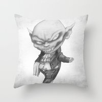 black butler Throw Pillows featuring Vlad the Impatient Butler by Sebastian Black
