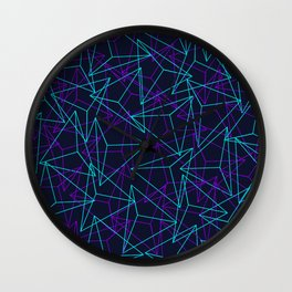 Abstract Geometric 3D Triangle Pattern in  turquoise/ purple  Wall Clock