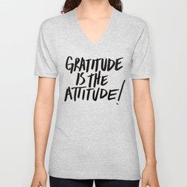 Gratitude is the Attitude (Black on White) Unisex V-Neck