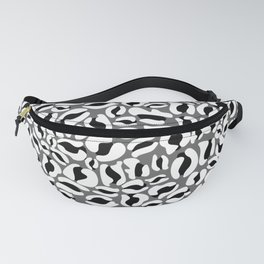 Leopard Print   black and white monochrome   Cheetah texture pattern Fanny Pack