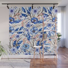 Hand painted navy blue pink watercolor winter floral Wall Mural