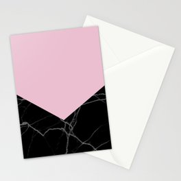mauve and black marble Stationery Cards
