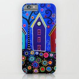 Mexican Pueblo Folk Art Town Painting iPhone Case