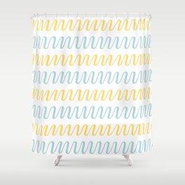 blue yellow summer stripes Shower Curtain
